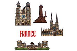 French travel landmarks icons