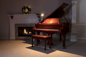Piano in holiday evening