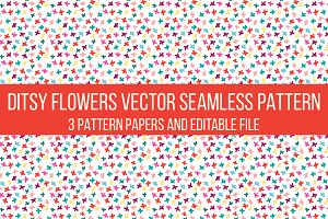 ditsy flower vector seamless pattern