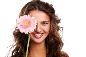 woman with pink fresh flower