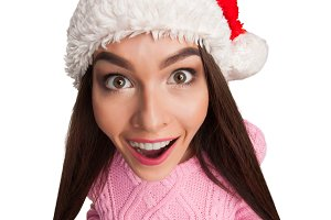 model in red Santa Claus hat
