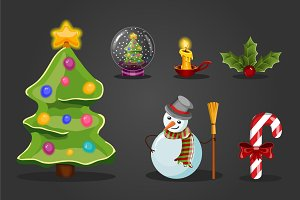 Christmas set for game interface.