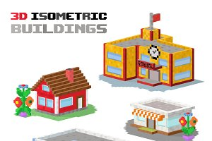 3d buildings isolated vector