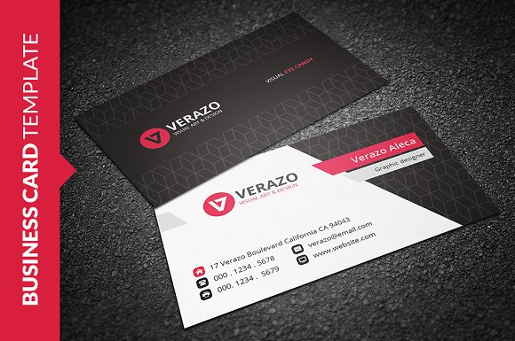 Modern red business card business card templates creative market colourmoves
