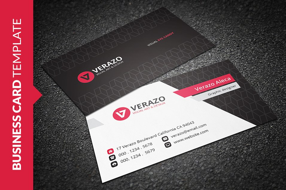 Modern red business card business card templates creative market reheart Images