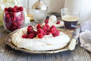 Raspberry pavlova cake