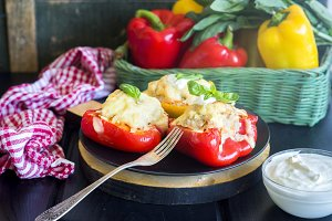 Roast peppers stuffed with meat and cheese