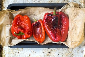 Roast bell peppers on a baking tray