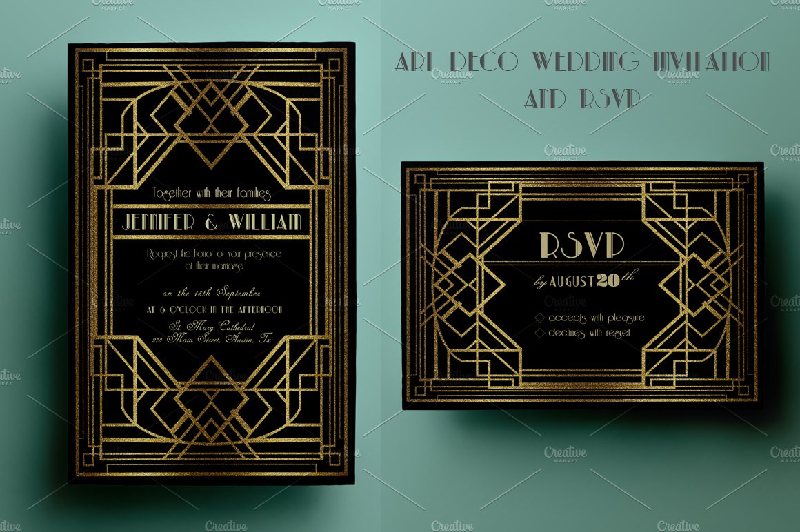 Deco Wedding Invitations: Art Deco Wedding Invitation And RSVP