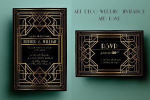 Art Deco Wedding Invitation and RSVP