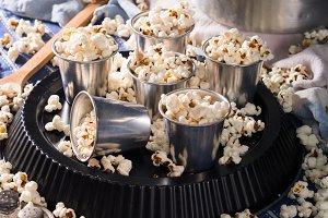 Savory popcorn in glasses