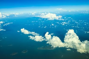 window view in airplane above sky