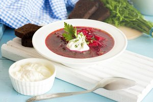 Traditional Ukrainian beetroot soup borsh