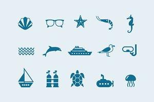 15 Sea & Ocean Icons