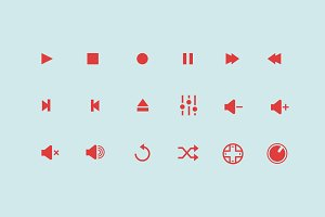 18 Audio Control Icons