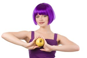 woman in purple wig