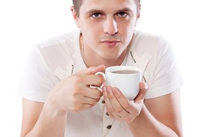 man with fresh cup