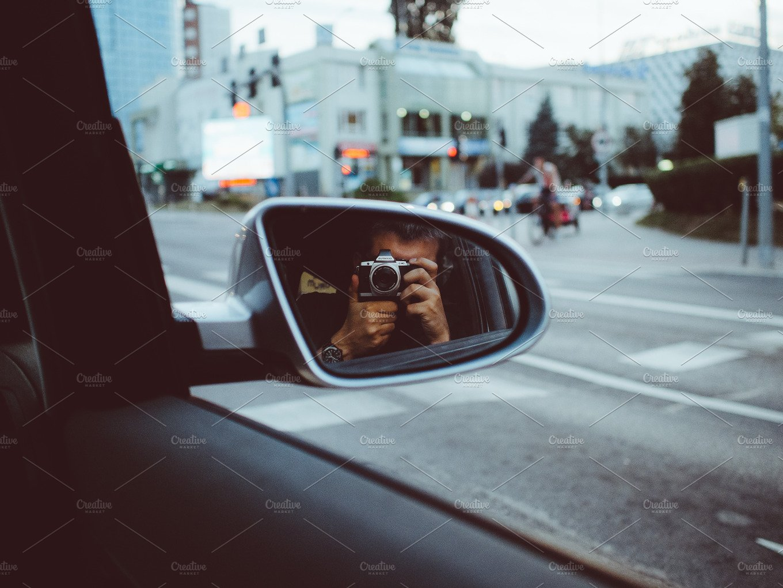 Car Mirror Selfie People Photos Creative Market
