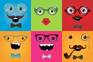 Set of 4 Funny Monster Backgrounds