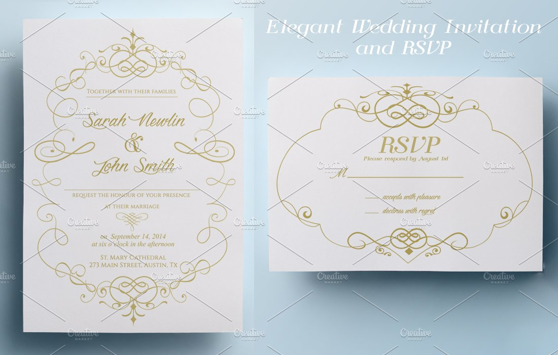 Elegant wedding invitation and rsvp invitation templates elegant wedding invitation and rsvp invitation templates creative market stopboris Choice Image