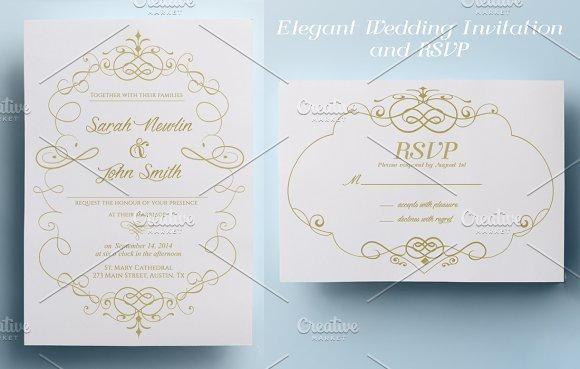 elegant wedding invitation and rsvp invitation templates