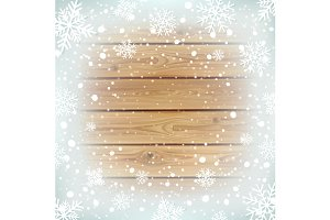 Winter background with wood planks.