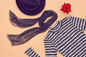 Fashion Set. Top view. Stylish Fall Autumn Concept