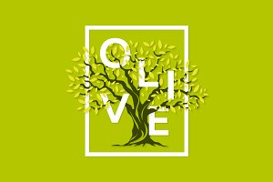 Vector olive tree logo design