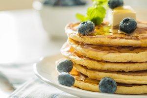 Breakfast pancakes with blueberries