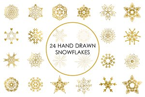 Golden snowflakes clip art set.