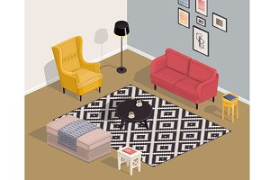 Room isometric interior in vector