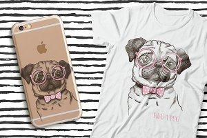 Pug dog print illustration
