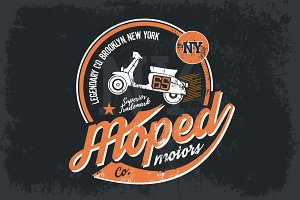 Vector moped tee print design