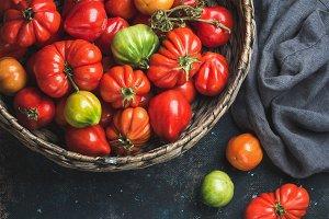 Colorful ripe heirloom tomatoes