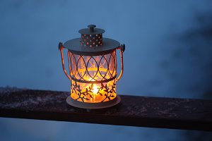 Christmas lantern at night