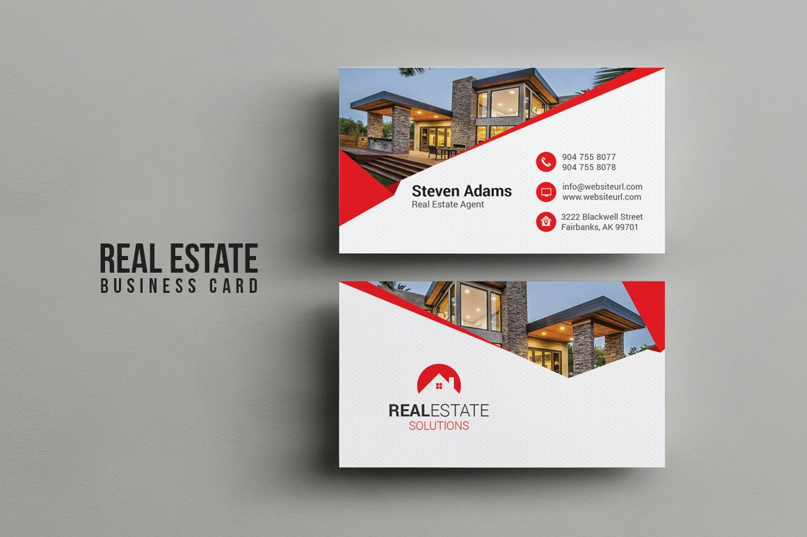 Real estate business card business card templates creative market reheart Images