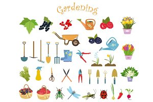Gardening icons vector set