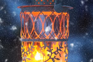 Christmas lantern in the garden