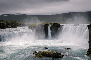 Icelandic Waterfall and Dark Sky