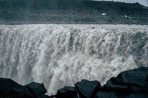 Powerful Waterfall in Dark Weather