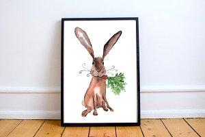 Watercolor Hare Print + Clip Art