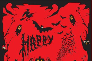 Happy Halloween background red