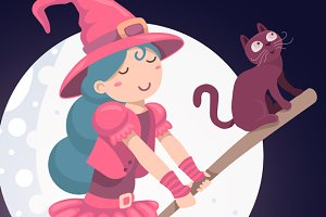 Halloween cute witch with cat