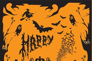 Happy Halloween background orange