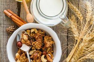 Autumn granola with nuts and yogurt