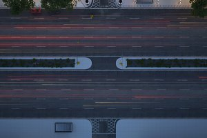 city street at night. top view. 3d rendering