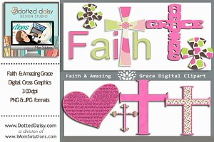 Faith & Amazing Grace Cross Graphics