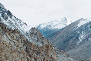 Top of snow rock mountains landscape in Leh, Ladakh in India