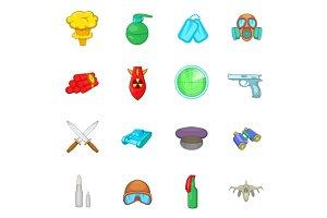 War icons set, cartoon style