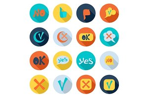 Check mark icons set, flat style